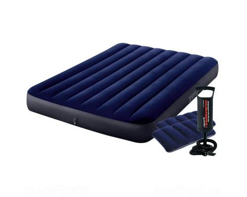 Надувной матрас Полуторный Intex 64758-2, 137 x 191 x 25 см, с двумя подушками, насосом