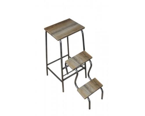 Раскладной стул - стремянка высота 65 см на 3 ступени дуб сонома