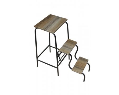 Барный стул стремянка черный каркас ступени дуб сонома