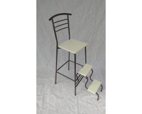 Барный стул белый Марко с лестницей