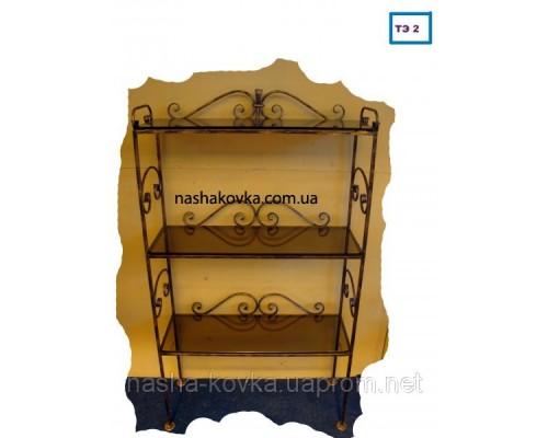 Кованая этажерка со стеклом