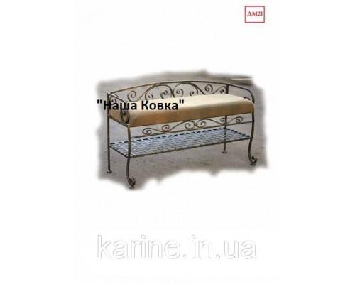 Банкетка с полкой под обувь и спинкой ДМ21