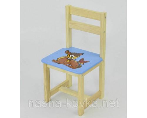 Стульчик детский деревянный олененок Бэмби голубой Мася