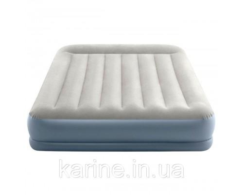 Двухспальная надувная кровать велюр 64118 со встроенным насосом (220-240В) 152*203*30 см